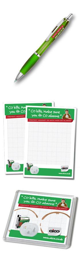 Aico CO Launch Pen, Note Pads, Coaster