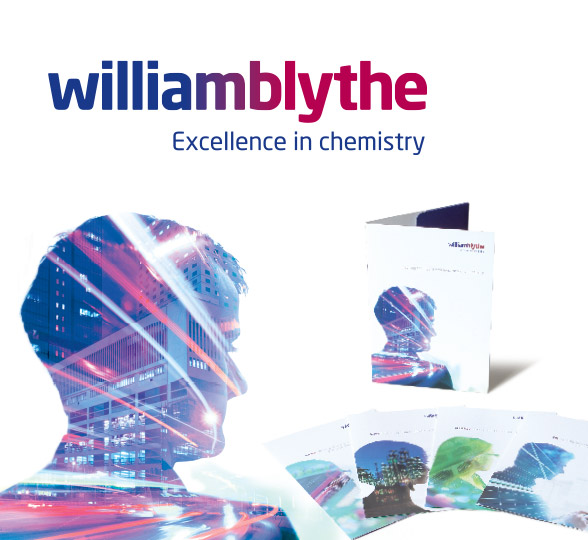 William Blythe logo with brochures