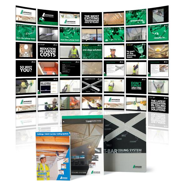 Lafarge T-Bar video screens and literature