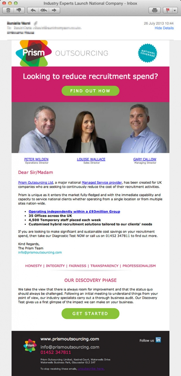 Prism Launch Email Marketing